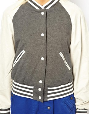 Image 3 ofASOS Varsity Sweat Jacket With Leather Sleeves