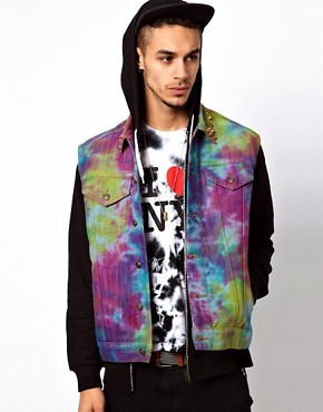 Image 1 ofVintage Gilet with Studded Tie-Dye