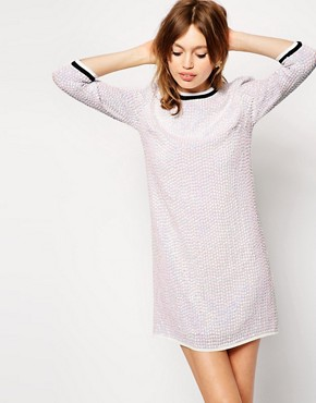 ASOS Iridescent Sequin Tunic Dress With Rib