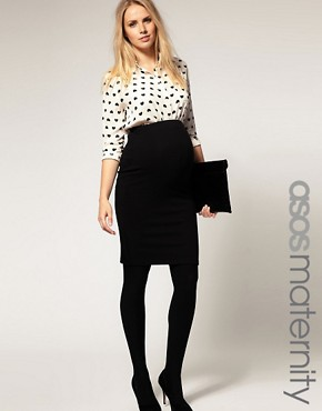 Image 1 ofASOS Maternity Exclusive Pencil Skirt in Ponte