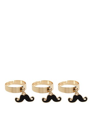Image 1 ofASOS Adjustable Pack of 3 Enamel Moustache Charm Rings