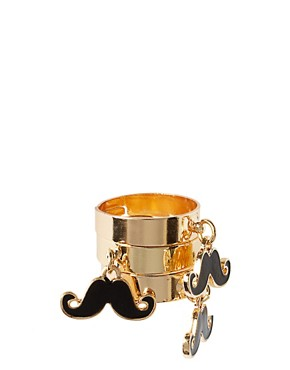 Image 2 ofASOS Adjustable Pack of 3 Enamel Moustache Charm Rings