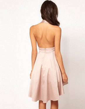 Image 2 ofASOS PETITE Exclusive Skater Dress With Halterneck And Keyhole