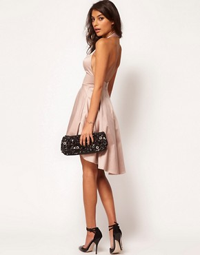 Image 4 ofASOS PETITE Exclusive Skater Dress With Halterneck And Keyhole
