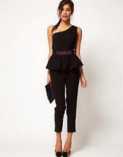 ASOS Embellished Peplum Jumpsuit With One Shoulder