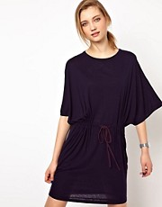 White Tent Silk Jersey T-Shirt Dress with Taffeta Draw String at Waist