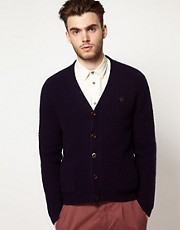 Farah Vintage Cardigan with Contrast Buttons