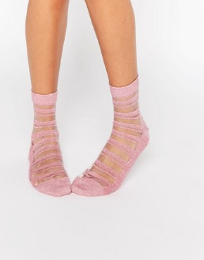 ASOS Glitter Sheer Stripe Ankle Socks