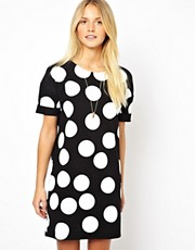 ASOS Shift Dress In Large Spot Print