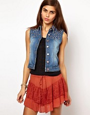 Very By Vero Moda Denim Gilet With Studs