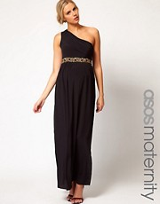ASOS Maternity Maxi Dress With One Shoulder And Embellishment