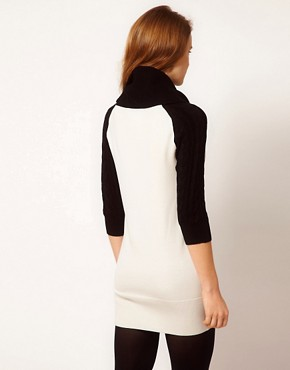 Image 2 ofKaren Millen Jumper Dress with Roll Neck and Contrast Raglan Sleeves