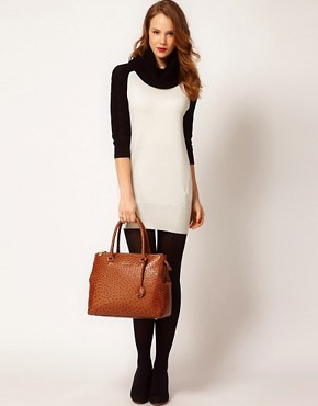 Image 4 ofKaren Millen Jumper Dress with Roll Neck and Contrast Raglan Sleeves