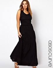 ASOS CURVE  Exklusives Maxikleid mit gehkelter Rschenborte