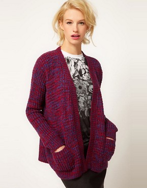 Image 1 ofASOS Edge To Edge Cardigan In Grid Pattern