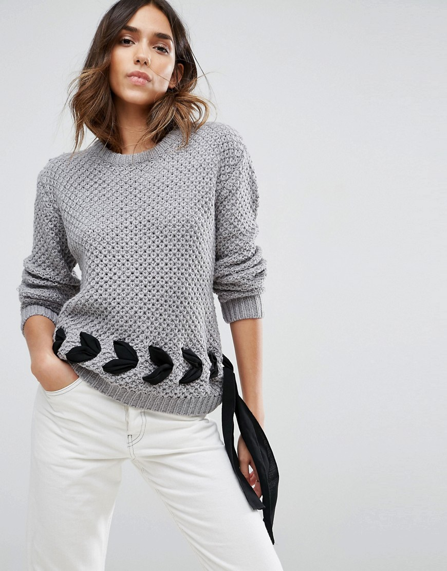 ASOS Jumper in Chunky Knit with Lace Up Detail - Grey
