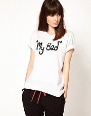 Camiseta con eslogan My Bad de lentejuelas de Markus Lupfer