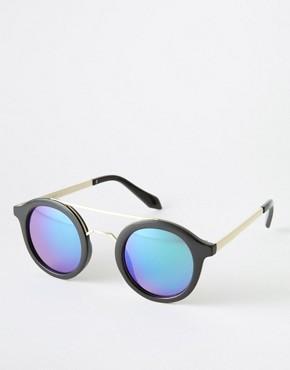 AJ Morgan - Round Sunglasses with Brow Bar and Blue Lens