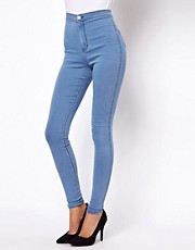 ASOS Uber High Waist Denim Tube Pants in Light Wash