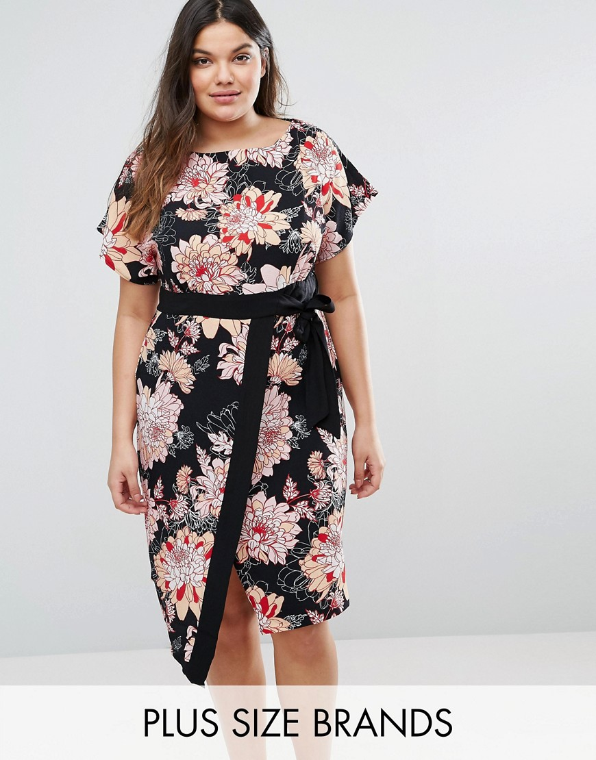 Closet Plus Wrap Dress With Kimono Sleeves In Floral Print - Multi