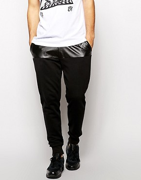 ASOS Skinny Sweatpants With PU Front