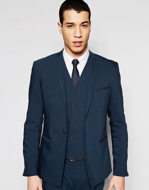ASOS Skinny Suit Jacket In Petrol Blue