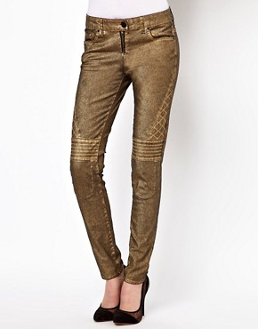 Image 1 ofASOS Biker Skinny Jeans in Distressed Bronze