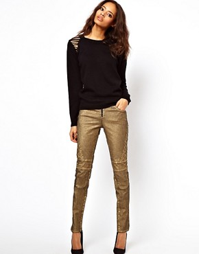 Image 4 ofASOS Biker Skinny Jeans in Distressed Bronze