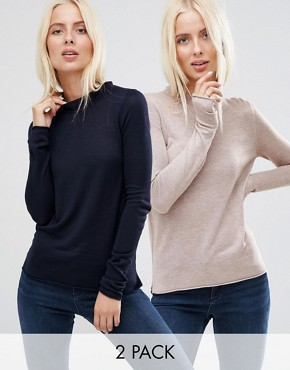 ASOS Jumper With Crew Neck in Soft Yarn 2 PACK SAVE 20%