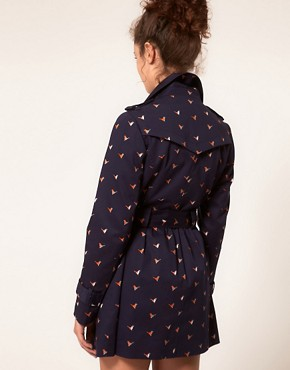 Image 2 ofA Wear Trench Coat With Bird Print