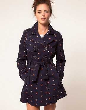 Image 1 ofA Wear Trench Coat With Bird Print