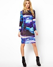 Glamorous Midi Dress In Galactic Print