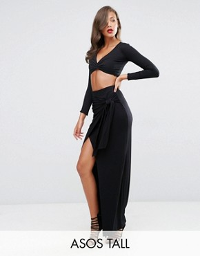 ASOS TALL Maxi Skirt With Twist Knot