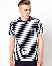 Fred Perry T-Shirt with Stripe and Check Pocket