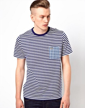 Image 1 ofFred Perry T-Shirt with Stripe and Check Pocket