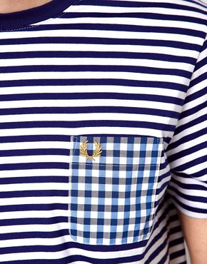 Image 3 ofFred Perry T-Shirt with Stripe and Check Pocket