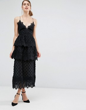 Self Portrait Ivy Lace Trim Midi Dress
