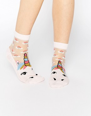 ASOS Unicorn Sheer Panel Socks With Rainbows