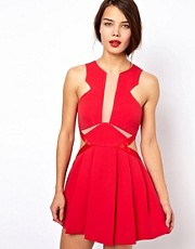 Three Floor Look See Fit &amp; Flare Dress With Cut Out Detail