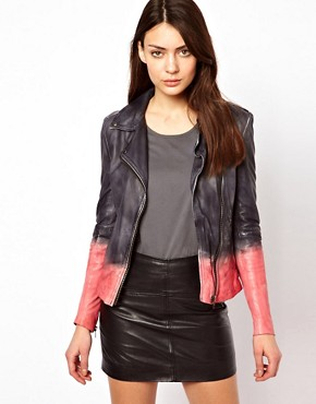 Image 1 ofMuubaa Dip Dyed Leather Biker Jacket