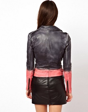 Image 2 ofMuubaa Dip Dyed Leather Biker Jacket