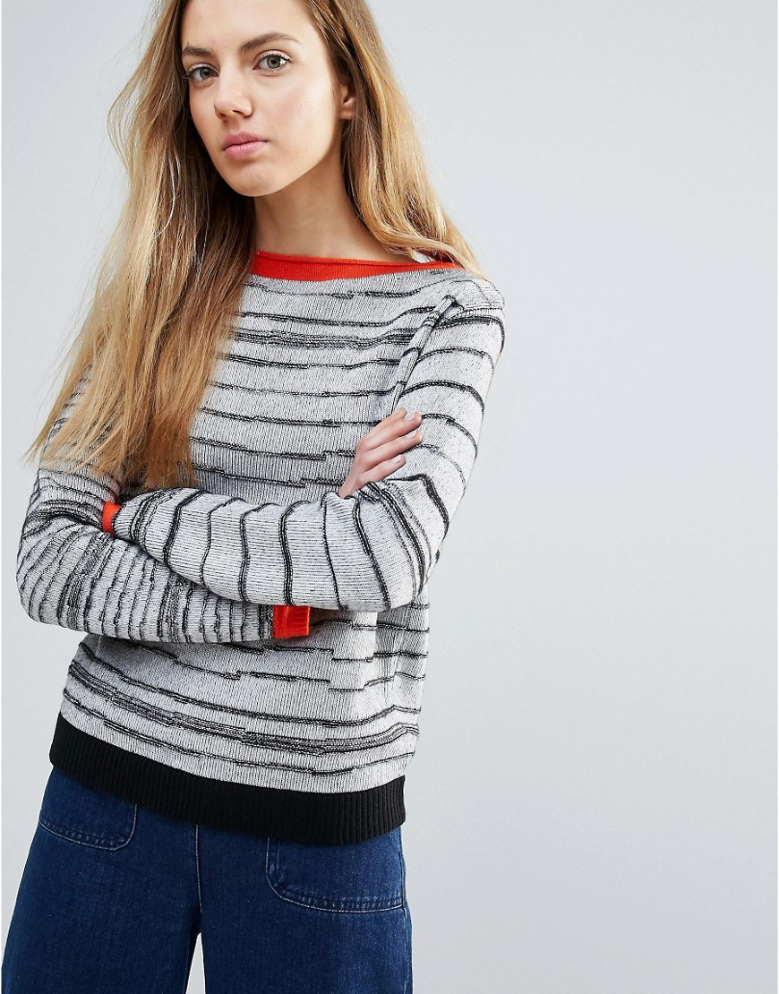 Shae Broken Stripes Sweater With Red Trim - Multi