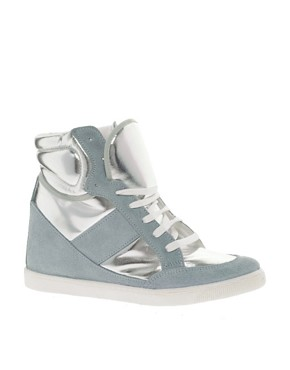 Image 1 ofASOS DENY Wedge High Top Trainers With Suede Detail