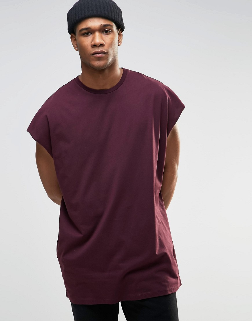 ASOS Super Oversized Sleeveless T-Shirt With Raw Edge In Oxblood - Red