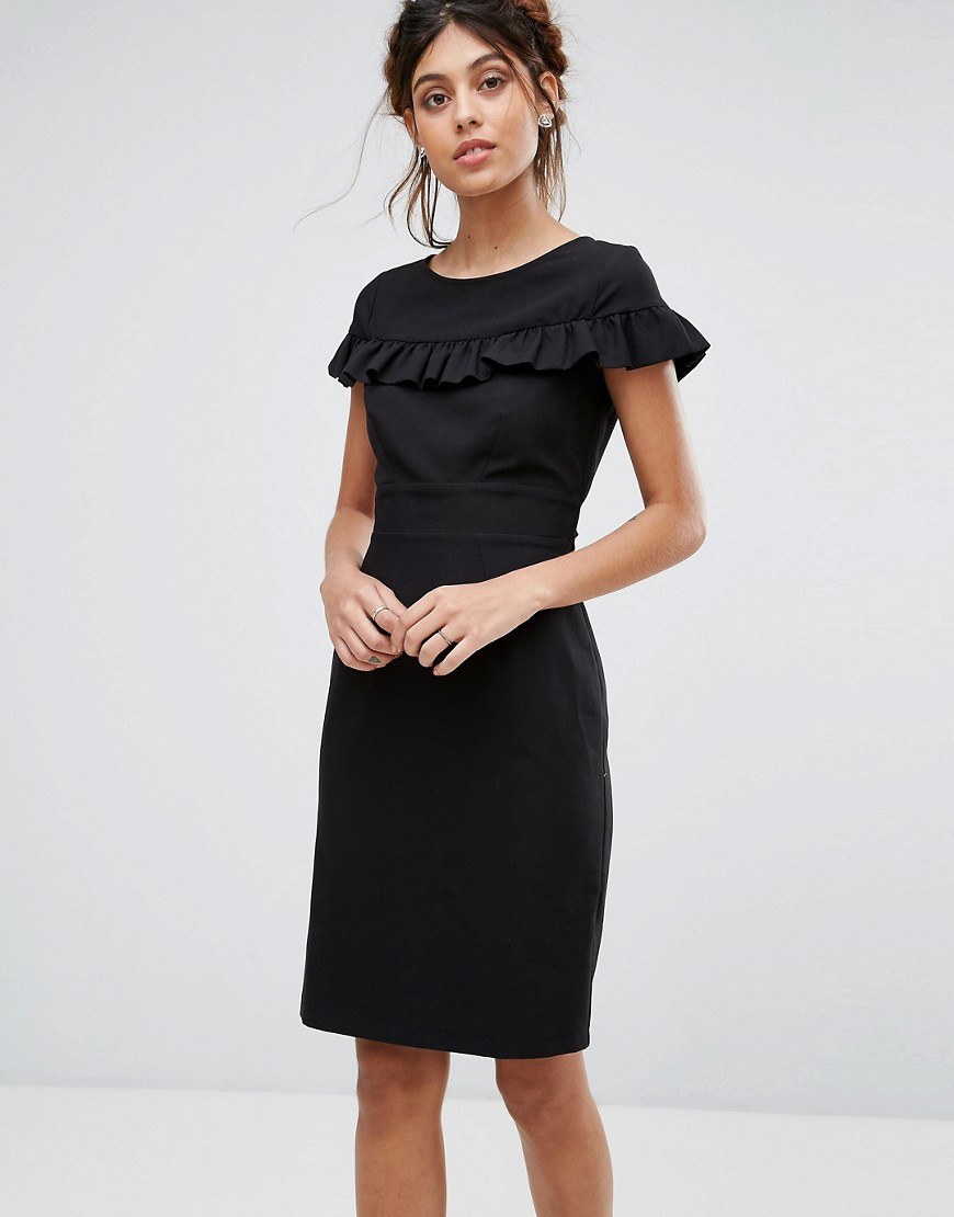 Closet London Cap Sleeve Midi Dress With Frill Detail - Black