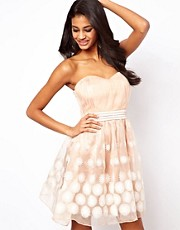 Little Mistress Floral Organza Bandeau Prom Dress