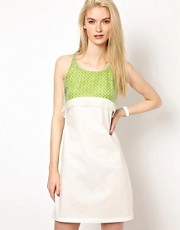 Chalayan Grey Line Tank Top Dress with Neon Layer