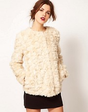 Warehouse Crushed Faux Fur Coat