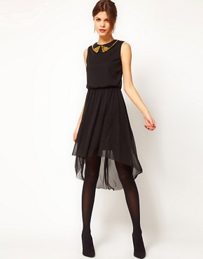 Image 1 ofWarehouse Stud Collar Mesh High low Hem Dress