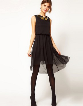 Image 4 ofWarehouse Stud Collar Mesh High low Hem Dress